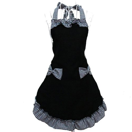 HANERDUN Kochschürze Frauen Damen Schürze Küchenschürze Schwarz Verstellbar Petticoat mit zwei Taschen Bowknot Schleife für Kochen Backen Grillen Geschenk Idee