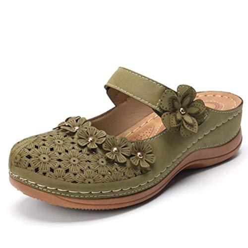 Sandalias de Mujer Zapatos de tacón de cuña con Punta Cerrada Mocasines Retro de Verano Slip-on Casual Camisas de Mujer Slingback cómodas con Flores