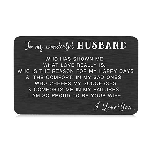 Husband Valentine Day Gift Ideas from Wife Wallet Insert Card for Hubby Christmas Wedding Day Anniversary Birthday Fiance Bridegroom Soulmate Stocking Stuffer Present for Him Men