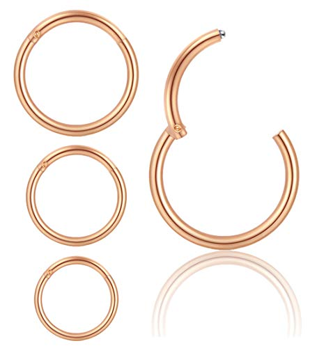 ZS 16G Hoop Earrings Nose Rings Hoop 20G Nose Studs L-Shaped Stainless Steel Nose Screw Ring Tragus Cartilage Helix Nose Piercing Set 4/14pcs