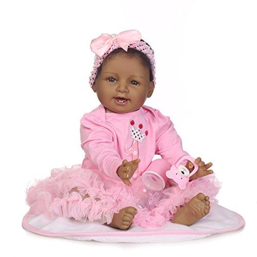 Nicery Reborn Baby Doll Muñeca Renacida Piel Negra Africana India Vinilo de Silicona de Simulación Suave 22 Pulgadas 55cm Boca Realista Vivo Impermeable Niño Niña Juguete vívido Vestido Rosa ID55C012