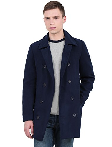 uxcell Men's Long Sleeve Double Breasted Slim Trench Coat Navy Blue L US 44