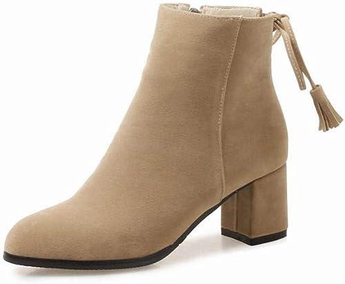 XQY Stiefel para damen - Tacones Altos 5.5Cm   Stiefel de Tacón Grueso Botines con Punta de Inglaterra Cuero Mate 33-43