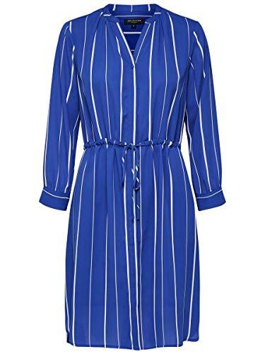 SELECTED FEMME Slfdamina 7/8 AOP Dress B Vestido, Multicolor (Dazzling Blue Stripes:...