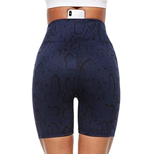 Pantalones Cortos de Yoga para Mujer,para Entrenamiento con Estampado de Cintura Alta para Mujer, Bolsillos Ocultos, Pantalones Cortos atléticos, piernas, Ajustado para Deporte