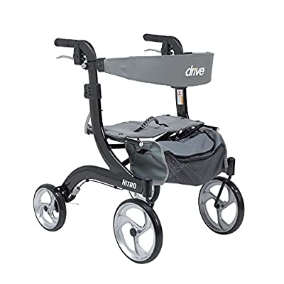 Drive Medical RTL10266BK-H Nitro Aluminum Rollator, Hemi Height, 10 Inch Casters