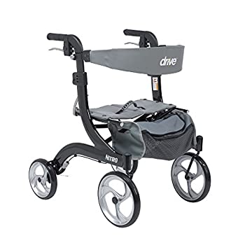 Drive Medical RTL10266BK-H Nitro Aluminum Rollator Hemi Height 10 Inch Casters 1 Count  Pack of 1
