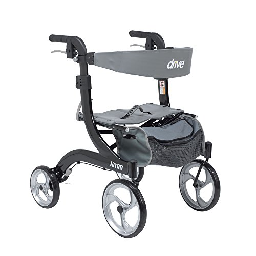 Drive Medical RTL10266BK-H Nitro Aluminum Rollator, Hemi Height, 10 Inch Casters, 1 Count (Pack of 1)