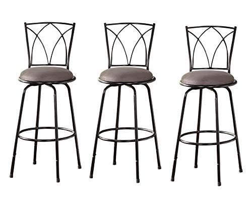 TMS Delta Adjustable-Height Metal Barstools, Black, Set of 3