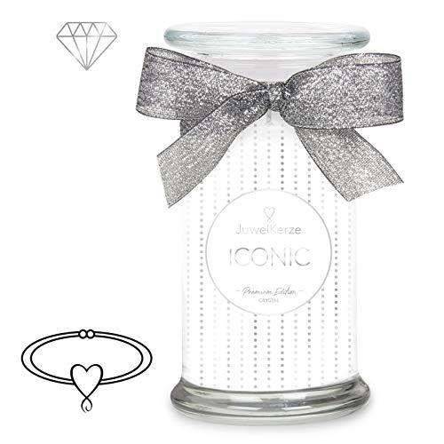 JuwelKerze 'Iconic' (Armband) Schmuckkerze große weiß Duftkerze 925 Sterling Silber, besetzt mit edlen Swarovski Kristallen - Kerze mit Schmucküberraschung als Geschenk für sie