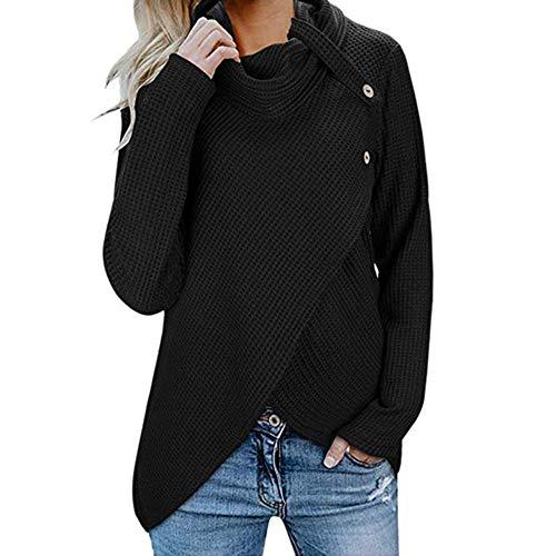 iHENGH Damen Herbst Winter Übergangs Warm Bequem Slim Mantel Lässig Stilvoll Frauen Langarm Solid Sweatshirt Pullover Tops Bluse Shirt (L, Schwarz-2)