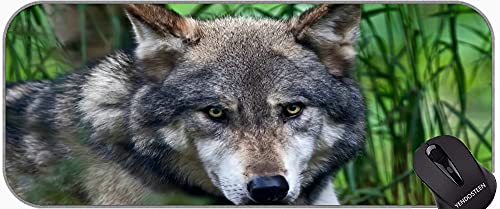 Gaming Mouse Pad Customized Extended,Wildlife Animal defocused Wolf face Non-Slip Rubber Mousepad