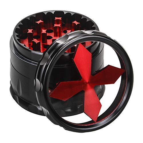 Fancyli Pollen Grinder Crusher für Tabak,Spice,Kräuter,Gewürze,Herb, 4-Teiliges Set mit Pollen Scraper und klare Top-Fenster(63 mm),Rot