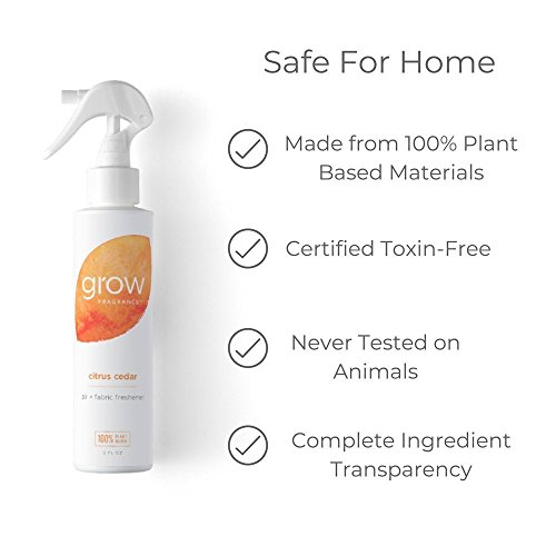 Grow Fragrance - Certified 100% Plant Based Air Freshener + Fabric Freshener Spray, Made with All Natural Essential Oils, Citrus Cedar Scent, 5 oz.
