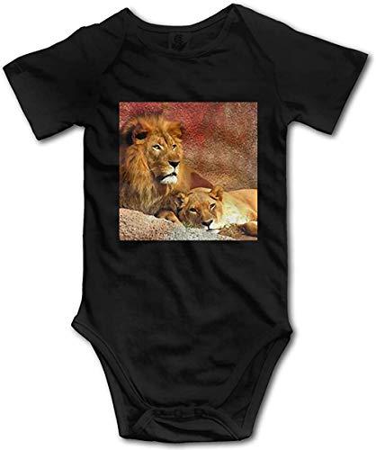 Biooarc African Savannah Lion Romper Baby Boys Girls Bodysuit One-Piece Jumpsuit Onesies for Baby Black