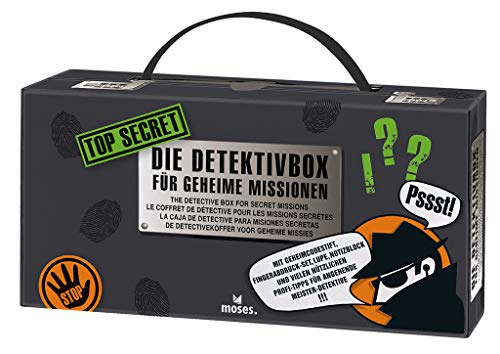 moses 30711 Top Secret-Detektivbox - Maletín para Detectives (12 en 1), Equipo para Agentes Secretos, Color Negro