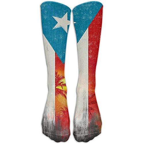 Socks,Puerto Rico Flag Coconut Palm Trees Funky Over The Calf Sock Athletic Crew Stocking Unisex 50Cm