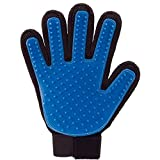 PICKVILL Efficient Pet Hair Remover Mitt Enhanced 5 Finger Design Gentle Brush Gloves for Dog and Cat with Long and Short Fur-Blue Color-Silicone