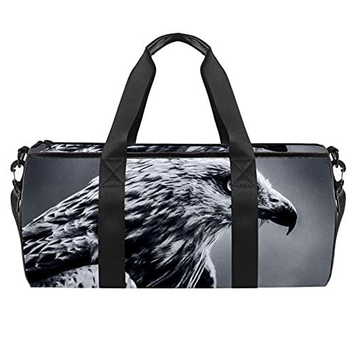 Borse da spiaggia da viaggio, grande sport palestra durante la notte Duffle uccello Milan Raptor Bird Print Borsa a tracolla con tasca asciutta bagnata