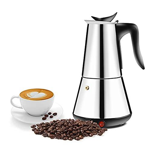 Cafetera expreso eléctrica de acero inoxidable, 300 ml, 6 tazas, con base y válvula de seguridad para camping y exteriores, deporte y ocio, fácil de limpiar (plata)