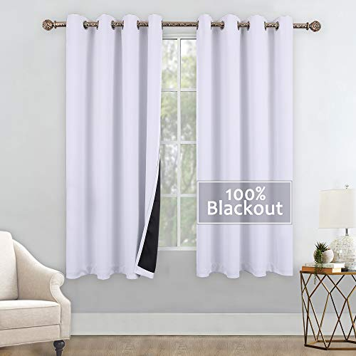 YGO Greyish White Blackout Curtains Thickening Polyester Thermal Insulated Grommet Window Drapery with Black Liners for Living Room Bedroom W52 X L63 2 Panels