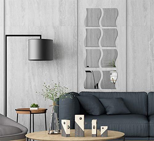 3D Wavy Mirror Wall Stickers, 8PCS Mirror Art DIY Home Decorative Acrylic Mirror Wall Sheet Plastic Tiles for Home Living Room Bedroom Sofa TV Setting Wall Decoration Decor Decal