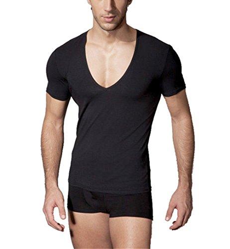 Q&Y Men's Fitness Workout Tops Base Layer Deep V-Neck Silm Fit Short Sleeve T-Shirt Black XL