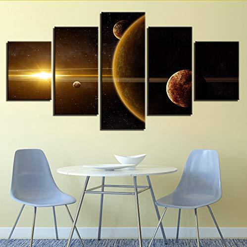 Gwgdjk Original Impresión De Tinta De Aceite Lienzo De Pintura 5 Paneles Sistema Solar En El Espacio Imagen De Arte De Pared Decoración Para El Hogar-10X15/20/25Cm,With Frame
