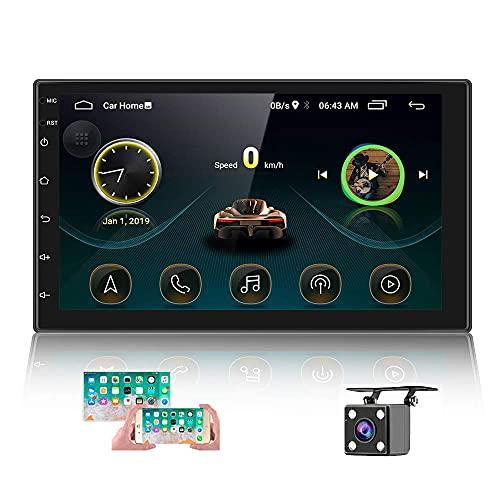 Radio de Coche Android 2 DIN GPS CAMECHO Pantalla táctil de 7 Pulgadas en el Tablero Estéreo para Automóvil Bluetooth WiFi FM Enlace Espejo para Teléfono Android iOS + Cámara Trasera