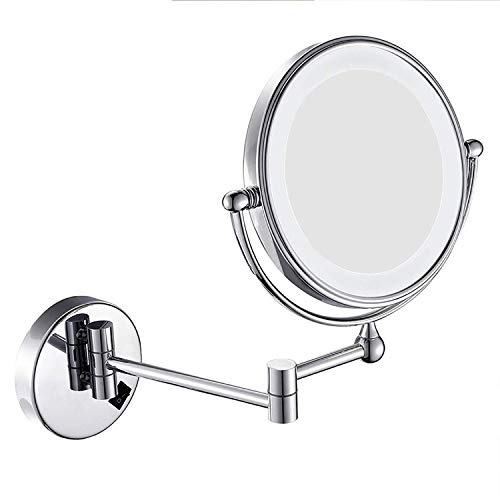 XYSQWZ Makeup Mirror Lighted 5x Magnified Wall Mount 8 Inches Led Double-sided Fashion Vanity Mirror With Lights Silver (color : Silver Size : 8 Inches 5x)