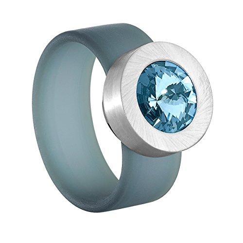 Heideman Ring Damen Colori türkis aus Edelstahl Silber farbend und türkis Damenring für Frauen mit Swarovski Stein Kristall