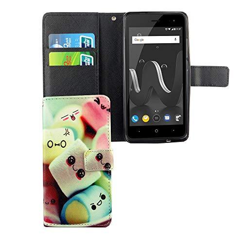 König Design Handyhülle Kompatibel mit Wiko Jerry 2 Handytasche Schutzhülle Tasche Flip Hülle mit Kreditkartenfächern - Marshmallows