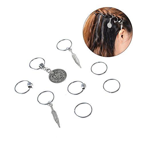 Lurrose Joyas para el cabello Anillos Decoraciones Colgantes Anillos de trenza para el pelo Dreadlocks Metal Brazaletes para el cabello y para accesorios para el cabello