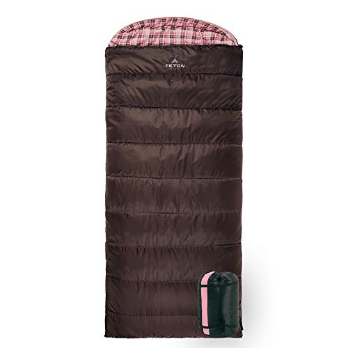 TETON Sports Celsius Regular Sleeping Bag; Great for Family Camping, Brown Poly Liner, Right zip , 80 x 33-Inch