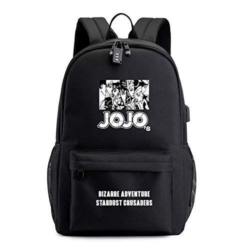 KIKO Sac à Dos D'aventure Bizarre De Jojo, Anime Bag Cosplay Password Lock Voyage Sac For School Man Women Student Anime Fans a 30x48cm(12x19inch)