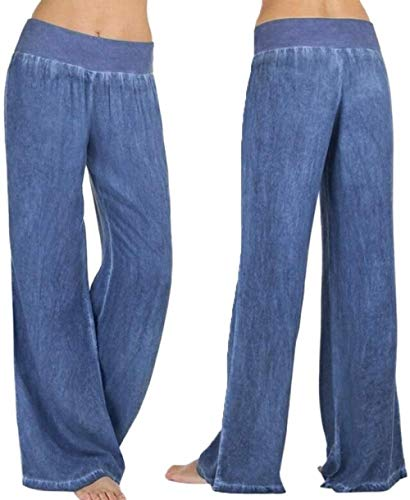 TBBE Pantalones de yoga de las mujeres Casual de cintura alta elasticidad pierna ancha Palazzo Pantalones Jeans Pantalones Casual Yoga Pantalones-XXL_Azul