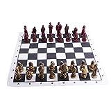 Juego de ajedrez Ajedrez Antiguo Romano Piezas de ajedrez Mesa de ajedrez de Caoba de Gama Alta Tablero de ajedrez de Madera Maciza Juego de enseñanza para Estudiantes Adultos Jueg