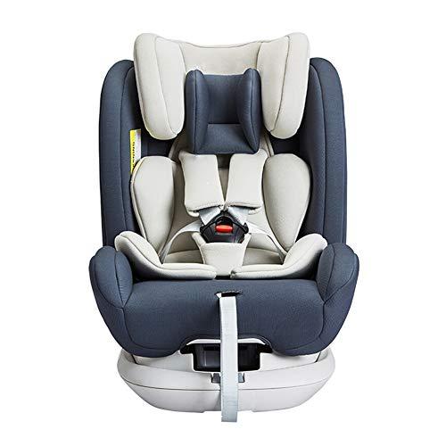 Asiento de Seguridad para niños Giratorio de 360 Grados para automóvil, el bebé Puede acostarse 0-3-4-12 años de Edad, inyección sólida Completa, Esqueleto, isofix, Interfaz Dura-Gray