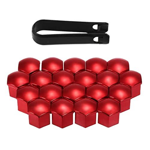 freneci 20pcs 17mm Universal Radmutter Kappe Radschrauben Radmuttern Schrauben Abdeckungen mit Entfernung Werkzeug Set - rot