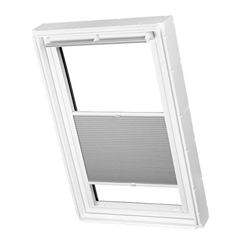 Dachfenster Waben Plissee ohne Bohren passend für Velux Fenster Plisseerollo Faltrollo verspannt Klebemontage (SK08, Grau Tageslicht)