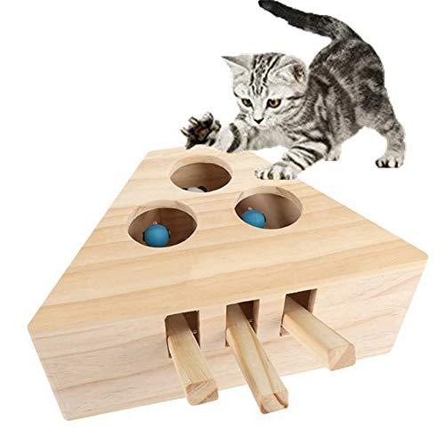 Cxssxling Giocattolo interattivo per Gatti, Giochi per Gattini in Legno Massiccio, per Esercizi, Tiragraffi e Morsi (3 Fori)