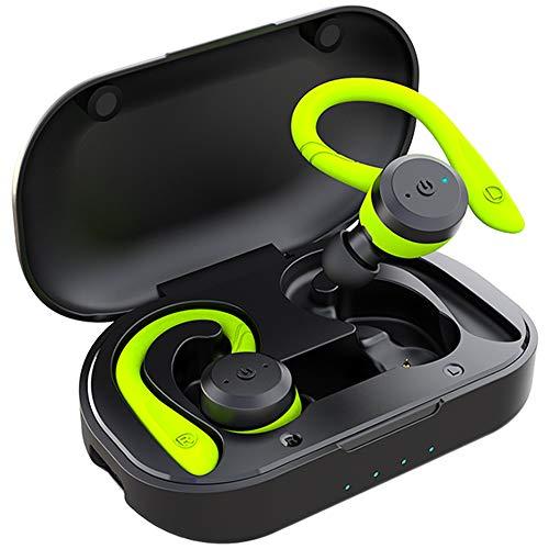 APEKX Auriculares Inalámbricos Bluetooth V5.0 Graves Mejorados, Deportivos IPX7 Impermeables Over Ear Earbuds 4 + 16H Tiempo de Reproducción Sonido Estéreo con Microfono Incorporado Verde