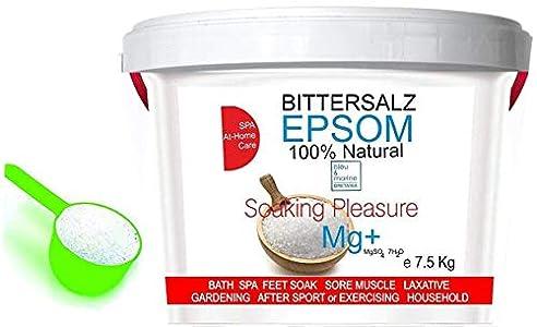 Sales Epsom Relajantes - Magnesio Natural Sal Pies Exfoliante pies ● Sales de baño, (7 kg)