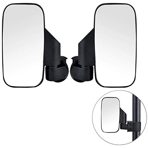 2020 Upgraded UTV Side View Mirrors, Adjustable Wide Rear Clear View with Shatter-Proof Tempered Glass, Moveland UTV Off Road Accessories Compatible with Polaris RZR, Can-Am, Kawasaki, kubota, Yamaha