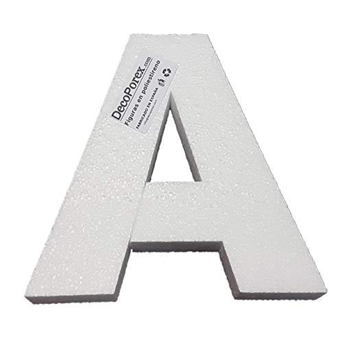 Letra A de 20Cm de Altura. De poliestireno expandido sin Pintar