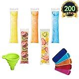 AUTOPkio 200 piezas Bolsas para helados de paletas de hielo con 1 pz De embudo y 5 piezas Mangas para helados de yogur, hielo o paletas...