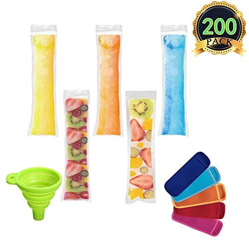 AUTOPkio Eis Popsicle Form Taschen, 200 Stück Ice Pop Taschen mit 1 Stück Trichter und 5 Stück Ice Pop Sleeves für Joghurt, Eis Süßigkeiten oder Freeze Pops, 22 x 6.2cm BPA Free Gefrierschrank Zip-Top