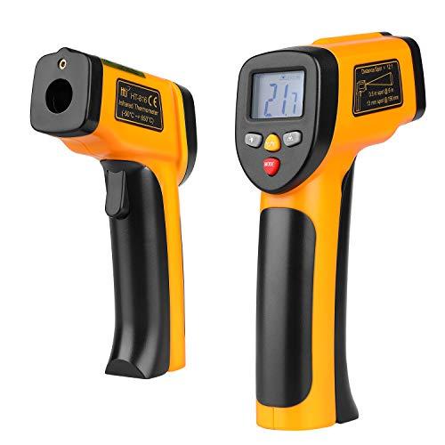 Flexzion - Termómetro digital infrarrojo infrarrojo sin contacto con visión láser con pantalla LCD precisa de mano, lectura instantánea (-50 ºC a 650ºC) con batería de 9 V, color negro y amarillo