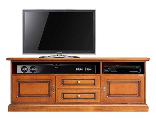 Arteferretto Tv Möbel Wohnzimmer für Klassische Wohnung, Lowboard TV mit Türen und Schubladen aus Holz, Made in Italy, NEU 100% vom Hersteller, Schrank Schon montiert in vielen Farben