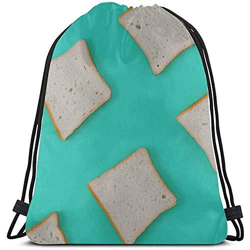 gfhfdjhf Breakfast Delicious Cartoon Toast Bread Drawstring Gift Bags Polyester Boys Drawstring Bags for Gym Travelmotion 19299